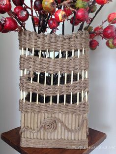 This is truly an upcycle/recycle craft - one, where most of the materials are household items.  A small cardboard box, wood skewers, and jute twine.  #recycle/u…