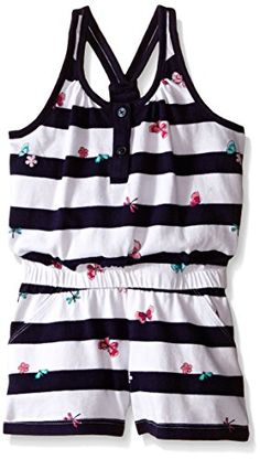 85590b430a87 Gymboree Little Girls Navy White Stripe Romper with Butterfly Multi 5      Click image