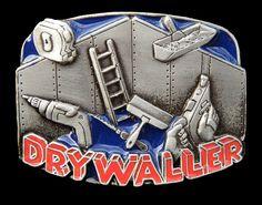 DRYWALLER CONSTRUCTION WORKER TOOLS EQUIPMENT BELT BUCKLE BOUCLE  #drywaller #Casual #construction #beltbuckle #buckle