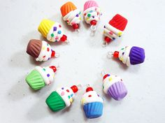 RAINBOW CUPCAKE  Polymer Clay Charms  Select your by thecolorclay, $13.99
