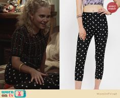 Carrie's polka dot pants on The Carrie Diaries. Outfit Details: http://wornontv.net/23128 #TheCarrieDiaries #UrbanOutfitters