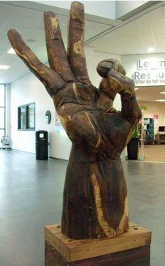 Laburnum Carved wood sculpture by artist David Gross titled: 'Pukka (Massive Wooden Hand Carving)' £2500 #sculpture #art