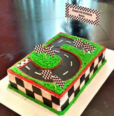Number 5 race track cake I made for my son!                              …