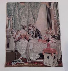 Antique, Berlin woolwork Needlework Picture with Dog ~ Textiles / Embroidery | eBay