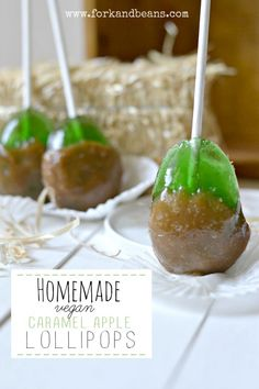 Homemade Vegan Candy: Caramel Apple Lollipops