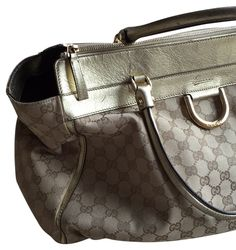 3256deb4ac9 Gucci Monogram Beige Ebony Canvas and Learher Tote 69% off retail