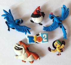 Rio 2 Movie 6pc Shoe Charms Cake Toppers Embellishments by GroovyDeals on Etsy