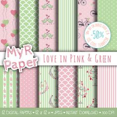 """Valentines Digital Paper: """"Love in Pink & Green"""" for #scrapbooking, invite, card – perfect for Valentine's day and Shabby Chic projects  50% OFF ON ORDERS OVER 12 $ (OR NEAR... #patterns #design #graphic #digitalpaper"""