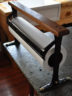 Vintage Paper Cutter mounted to industrial steel table.