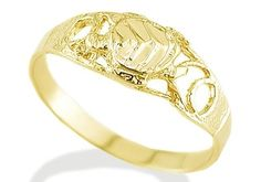 Women's Solid 14k Yellow Gold Sea Turtle Fashion Ring