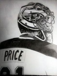 Carey Price par / By Roman Mnaca Montreal Canadiens, Hockey Players, Easy Paintings, Easy Drawings, Nhl, Roman, Canada, Fan Art, Board