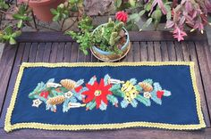 """Vintage hand embroidered crewel wool Christmas table runner or wall hanging 28""""X10.5"""" by eclecticvintageboho on Etsy"""