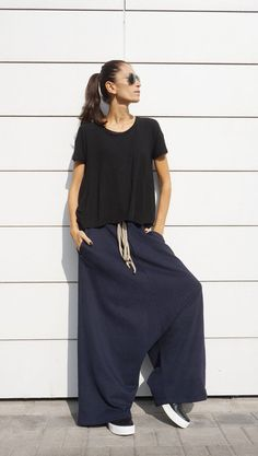I love wearing those pants!They are so comfortable,elegant,perfect for lunch, dinner,movie,theater....party! They are Warm , Soft , Comfortable and very UNIQUE and STYLISH They Flowed Perfectly! Look adorable low rise with skinny top or loose blouse, tunic or tank top ... just a simple T