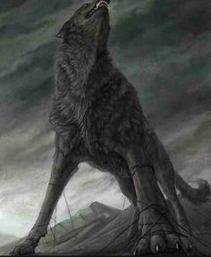 Fenrir prophecy the wolf and his family would end the world  dwarves made a thin ribbon Gleipnir to hold him gods tried to trick the him  Suspicious asked token of good will: someone had to put a hand between jaws (Tyr) couldn't get out In revenge, he bit off Tyr's hand. chained to a rock a mile into the earth. sword put between his jaws to prevent him from biting Fenrir will break his chains and join the giants in their battle against the gods. find Odin and devour him