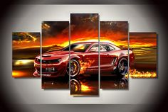 DIY diamond mosaic red sports car diamond painting cross stitch diamond embroider home decor Multi-pictures Canvas Artwork, Canvas Frame, Red Camaro, Multi Picture, Nice Picture, Cross Paintings, Car Painting, Mosaic Patterns, Hanging Art