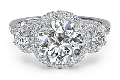 Three-Stone Halo Diamond Engagement Ring - in 18kt White Gold (0.75 CTW) with a 1.04 Carat, Round Diamond