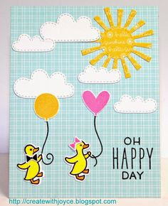 Lawn Fawn - Spring Showers Lawn Cuts dies, Hello Baby + coordinating dies, Hello Sunshine, Hello Sunshine 6x6 paper _ happy card by Joyce via Flickr - Photo Sharing!