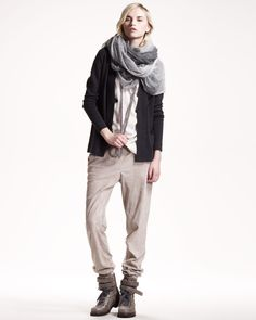 Brunello Cucinelli, Asymmetric Cardigan, Reversible Silk Camisole & Suede Sweatpants.