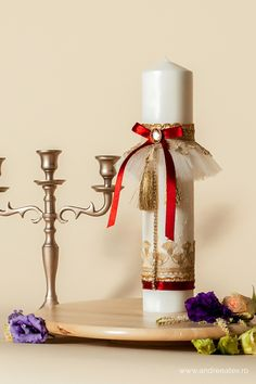 Lumânare trusou botez - burgundy Dyi, Candle Holders, Burgundy, Candles, Display, Floor Space, Billboard, Porta Velas, Candy