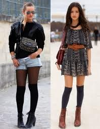 "Knee highs have pretty much always been around. They characterized Alicia Silverstone in the 90s film ""Clueless"". In 2012 they are back, with less argyle and matching blazer suits. Now, it is common to wear knee highs with cutoff shorts or cute dresses. Celebrities such as Sarah Jessica Parker, Ashley Simpson, and Lindsay Lohan have been wearing knee highs lately. This trend reflects nostalgia."