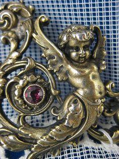 Victorian KERR ~ CHERUB JEWELED BROOCH ~ Antique Sterling Silver Pin