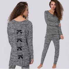 2017 Fashion Womens Back Bow Pyjamas Pjs Set Simple Solid Costume Pyjama Suit Ladies Long Sleeve Top Nightwear Grey Loungewear