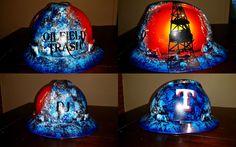 oilfield trash hard hat custom painted with derrick, Texas Rangers and name Oilfield Trash, Oilfield Wife, Welding Hats, Welding Helmet, Oil Field, Custom Airbrushing, Oil Rig, Texas Rangers, Custom Paint
