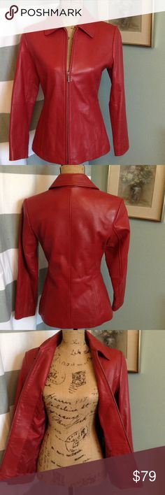 Liz Claiborne Red Leather Zippered Jacket Stylist Red 100% Soft Leather Jacket with zip front. Excellent condition. 2 slash pockets. Fully lined. Professional Leather Dry Clean Only. Liz Claiborne Jackets & Coats Blazers