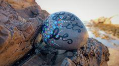 Mandala Sea Stone, Mandala, Meditation Stone, Painted Rock, Beach Stones, Sea Stone, Insperational Stone, Let It Be, Dot Art, Beach Rock by PaintedDandelion on Etsy