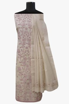 Ada #handembroidered #fawn  #cotton #lucknowi #chikankari  Unstitched Suit Piece – A564426