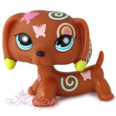 Littlest Pet Shop✵LPS✵1010✵BROWN BUTTERFLY SWIRL DACHSHUND PUPPY DOG✵FLOWER EYES