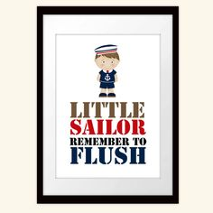Bathroom Sailor Nautical Art Little Sailor by BirthdayStudio, $8.00