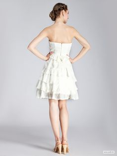 Strapless Layered Lace Little White Dress