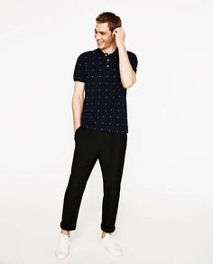 Image 1 of POLO SHIRT WITH POLKA DOTS EMBROIDERY from Zara