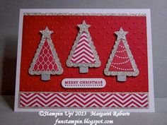 Pennant Parade Christmas Trees -  Pennant Parade, Teeny Tiny Wishes stamp sets, silver glimmer paper, brushed silver cardstock, Pennant Punch, Merry Minis Punch set