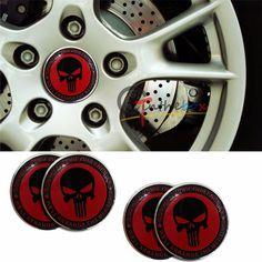 So Cheap 4PCS 56.5mm Punisher Skull Aluminum Auto Wheel Center Hub Cap Emblems Stickers|