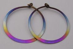 Niobium Rainbow Colored Hoop Earrings In Varioue Sizes by isidro on Etsy https://www.etsy.com/listing/201105053/niobium-rainbow-colored-hoop-earrings-in