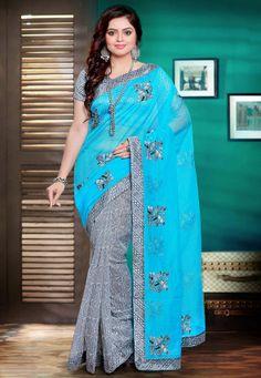La moitié N Demi de Super Net Saree en bleu et gris clair