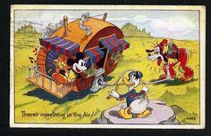 Vintage Walt Disney DONALD DUCK MICKEY MOUSE PLUTO Valentines UK 1940's Postcard