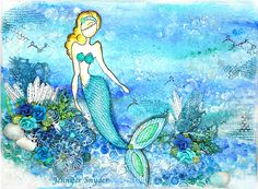 Mermaid Canvas using Julie Nutting Doll stamps