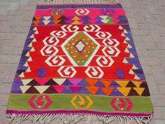 VINTAGE Turkish Area Rug Kilim Carpet Handwoven Kilim by sofART, $199.00