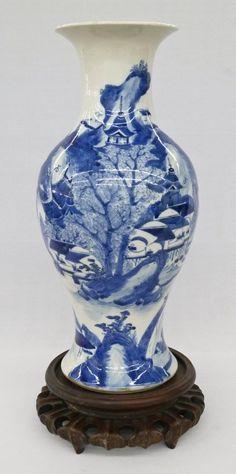 Antique Chinese Blue & White Landscape Porcelain Large