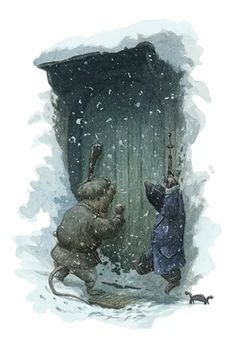 Ratty and mole find badger's front door in the snow. They ring the bell and bang on the door frantically. Illustration by Chris Dunn for 'The Wind In The Willows'. Whimsical animal art.