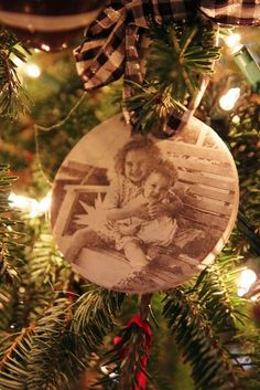 Great idea to make old family pictures a memory to cherish every Christmas