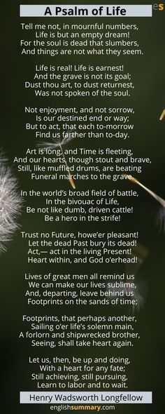 A Psalm Of Life Poem Summary & Analysis By Longfellow Psalm Of Life, Morning Poem, Empty Soul, English Love Quotes, Sad Poems, Poems About Life, Inspirational Poems, Religious Books, Lyrics