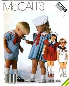 Sailor Dress Patterns for Girls | Toddlers Girls Dress Sailor Suit Hat UNCUT McCall's by patternshop