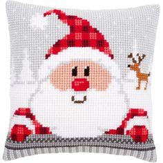 "Santa In A Plaid Hat Cushion Cross Stitch Kit-16""""X16""""                                                                                                                                                                                 More"
