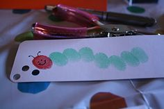 bachmanville: charlotte's 'very hungry caterpillar' party Cute Crafts, Crafts For Kids, Bookmark Craft, Bookmarks Kids, Hungry Caterpillar Party, Craft Station, Footprint Crafts, Stamp Pad, Craft Party