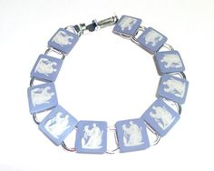 Genuine, Wedgwood Cameos In Silver Plated Link Bracelet. 8 inches.