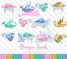 Dragon Sweets Clipart by Origins Digital Curio on @creativemarket